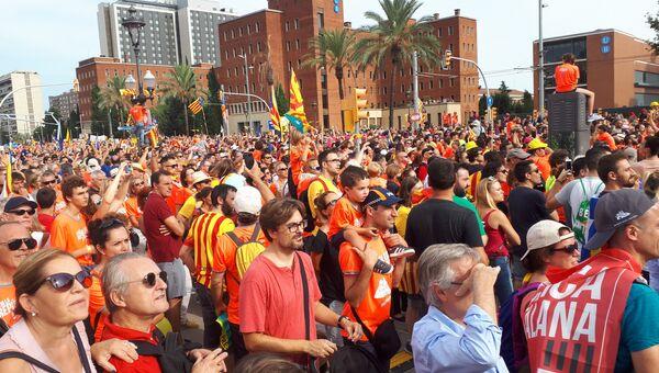 Национальный день Каталонии проходит в Барселоне. 11 сентября 2018