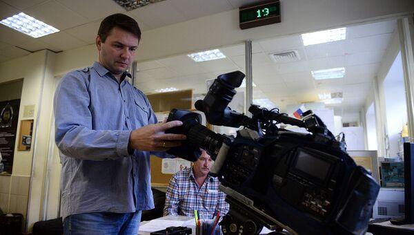 В отделе операторов в здании Всероссийской государственной телевизионной и радиовещательной компании. Архивное фото