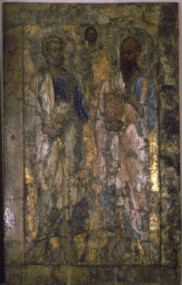 Икона Апостолы Петр и Павел. Конец XI в. Из Софийского собора