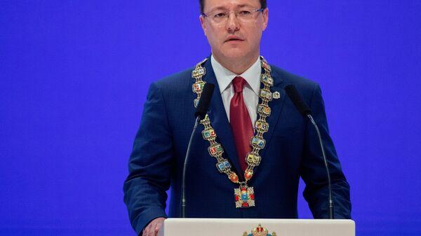 Губернатор Самарской области Дмитрий Азаров на торжественной церемонии инаугурации в Самарском академическом театре оперы и балета. 17 сентября 2018