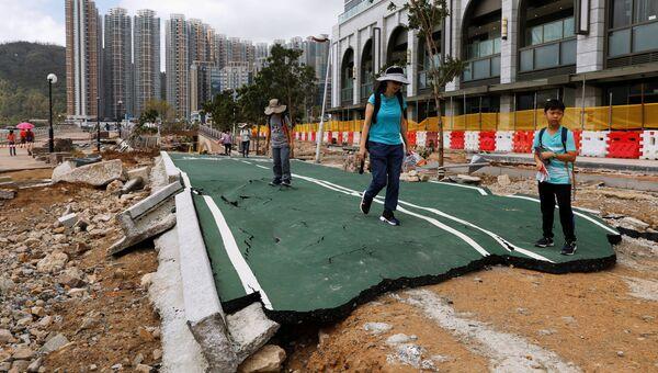 Последствия тайфуна Мангхут в Гонконге