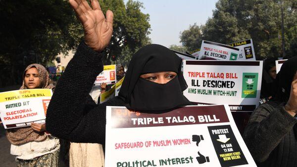 Активистки движения Женщины Индии во время акции протеста против мгновенного развода (тройной талак). Архивное фото