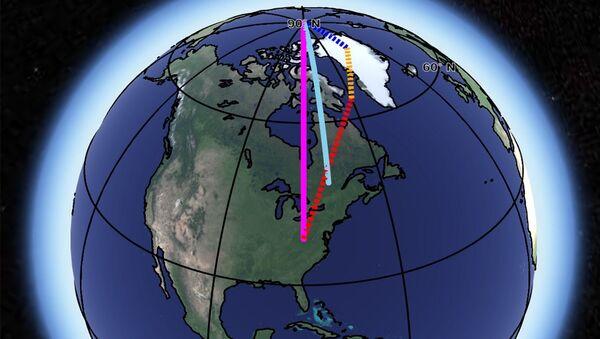 Направление «миграций» оси Земли (синяя линия) и их «виновники» - процессы в гидросфере (синее), отступление ледников (оранжевое) и процессы в мантии (красное)