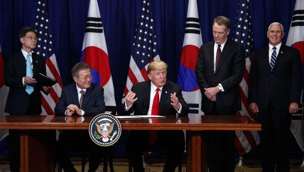 Президент Южной Кореи Мун Чжэ Ин и президент США Дональд Трамп на Генеральной Ассамблее ООН. 24 сентября 2018