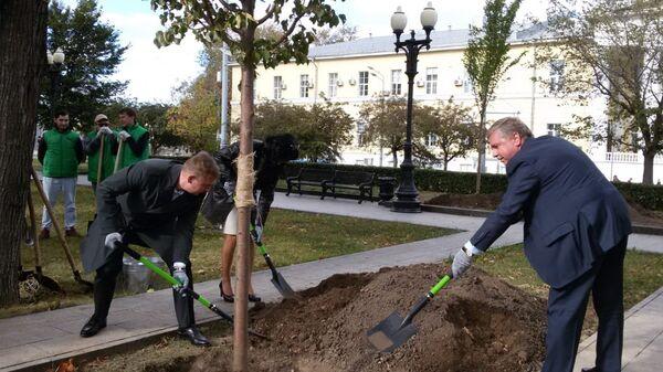 Представители московских властей совместно с венгерской делегацией высадили в сквере на Кудринской площади липу в рамках акции Дерево дружбы. 26 сентября 2018