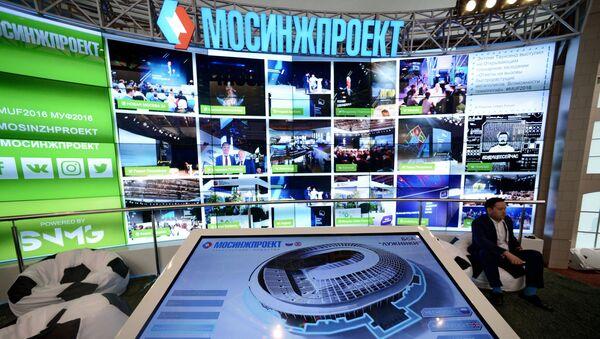 На стенде Мосинжпроект на Московском урбанистическом форуме в Центральном выставочном зале Манеж в Москве
