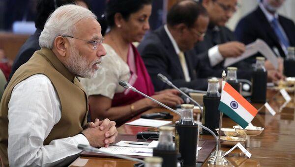 Премьер-министр Республики Индии Нарендра Моди во время российско-индийских переговоров в Хайдарабадском дворце в Нью-Дели. 5 октября 2018