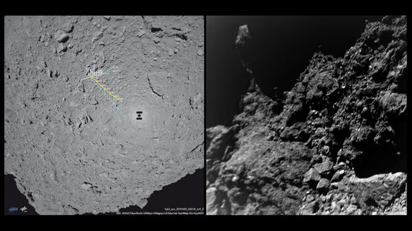 Карта перемещений (слева) и первая фотография, переданная ровером MASCOT с астероида Рюгю