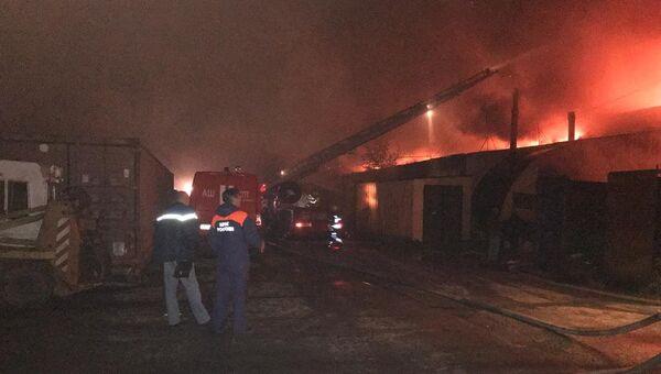 На месте пожара в городе Пушкин Ленинградской области