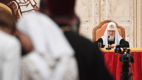 Патриарх Московский и всея Руси Кирилл перед началом VIII Общецерковного съезда по социальному служению