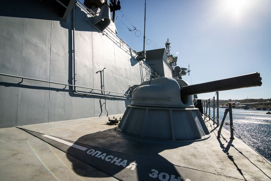 Зенитная артиллерия фрегата Адмирал Макаров - шестиствольная установка АК-630М