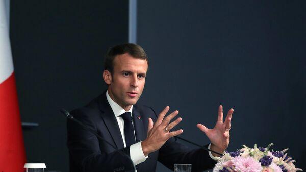 Президент Франции Эммануэль Макрон на пресс-конференции по итогам саммита по Сирии. 27 октября 2018