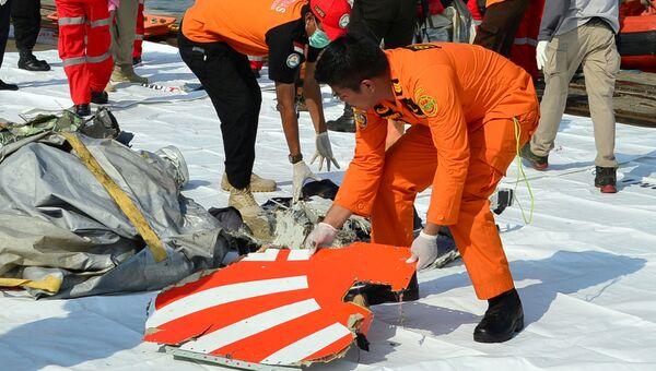 Обломки потерпевшего крушение самолета авиакомпании Lion Air в Индонезии. Архивное фото