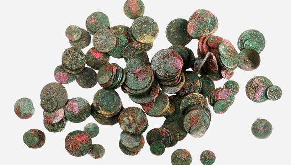 Медные монеты конца XIX — начала XX века, найденные во время строительных работ напротив Кремля, на Софийской набережной. 1 ноября 2018