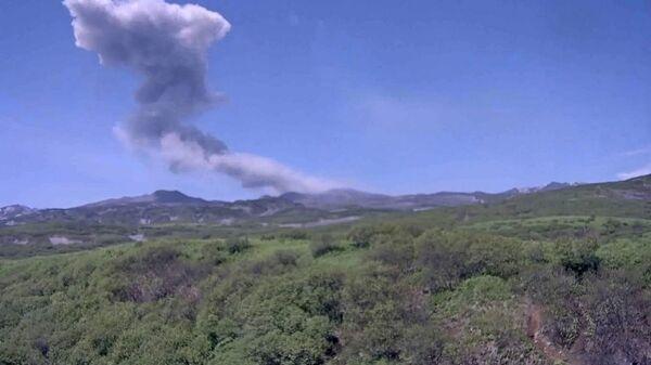 Пепловый выброс на вулкане Эбеко