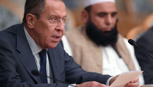 Глава МИД РФ Сергей Лавров выступает на втором заседании Московского формата консультаций по Афганистану. 9 ноября 2018