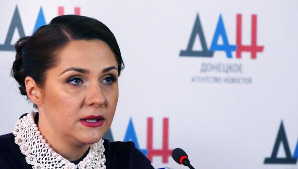 Председатель ЦИК ДНР Ольга Позднякова на пресс-конференции в Донецке. 14 ноября 2018