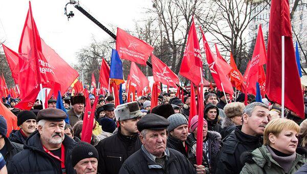 В Кишиневе проходит масштабный митинг социалистов