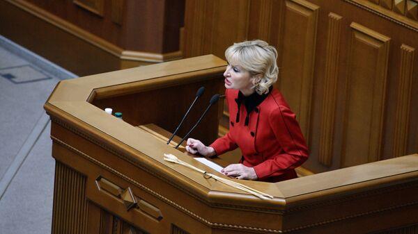 Представитель президента Украины в Верховной раде Ирина Луценко выступает на заседании Верховной рады Украины, посвященном рассмотрению государственного бюджета Украины на 2019 год