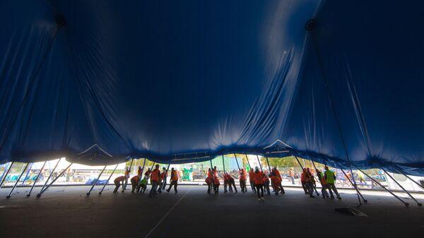 Установка большого купола канадской труппы Cirque du Soleil в Лужниках