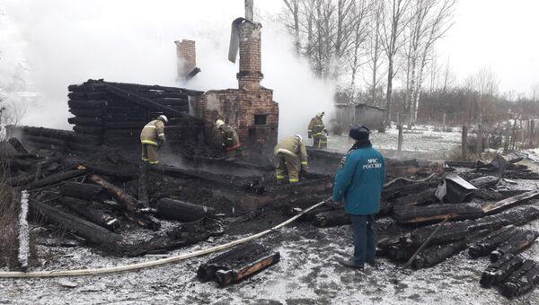 Пожар в жилом доме д. Каськово Куньинского района Псковской области. 27 ноября 2018