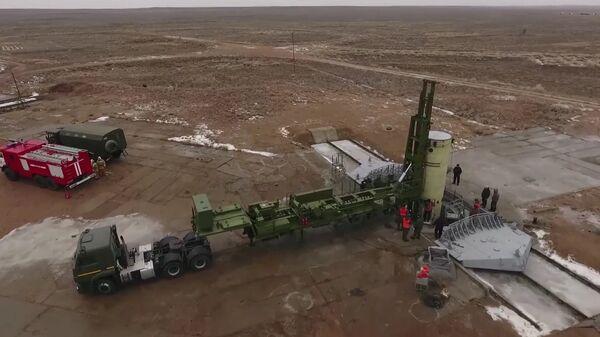 Пуск модернизированной ракеты российской системы противоракетной обороны на полигоне Сары-Шаган. 1 декабря 2018