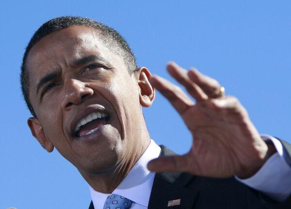 Кандидат в президенты США Барак Обама во время выступления во Флориде