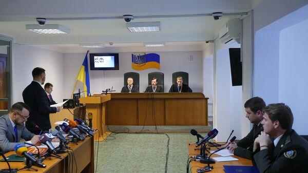 Заседание Оболонского районного суда Киева, где рассматривается дело о государственной измене экс-президента Украины Виктора Януковича.