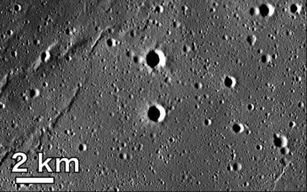 Участок поверхности в море Москвы на обратной стороне Луны, сфотографированный японским зондом Кагуя