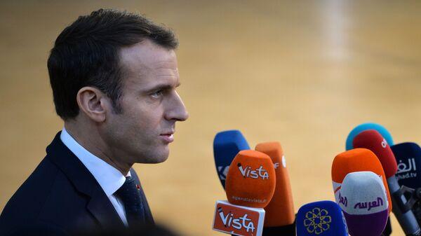 Президент Франции Эммануэль Макрон на саммите Европейского совета в Брюсселе