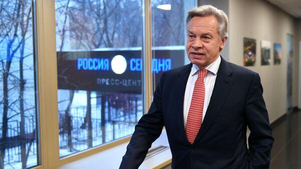 Алексей Пушков перед началом пресс-конференции в Международном мультимедийном пресс-центре МИА Россия сегодня