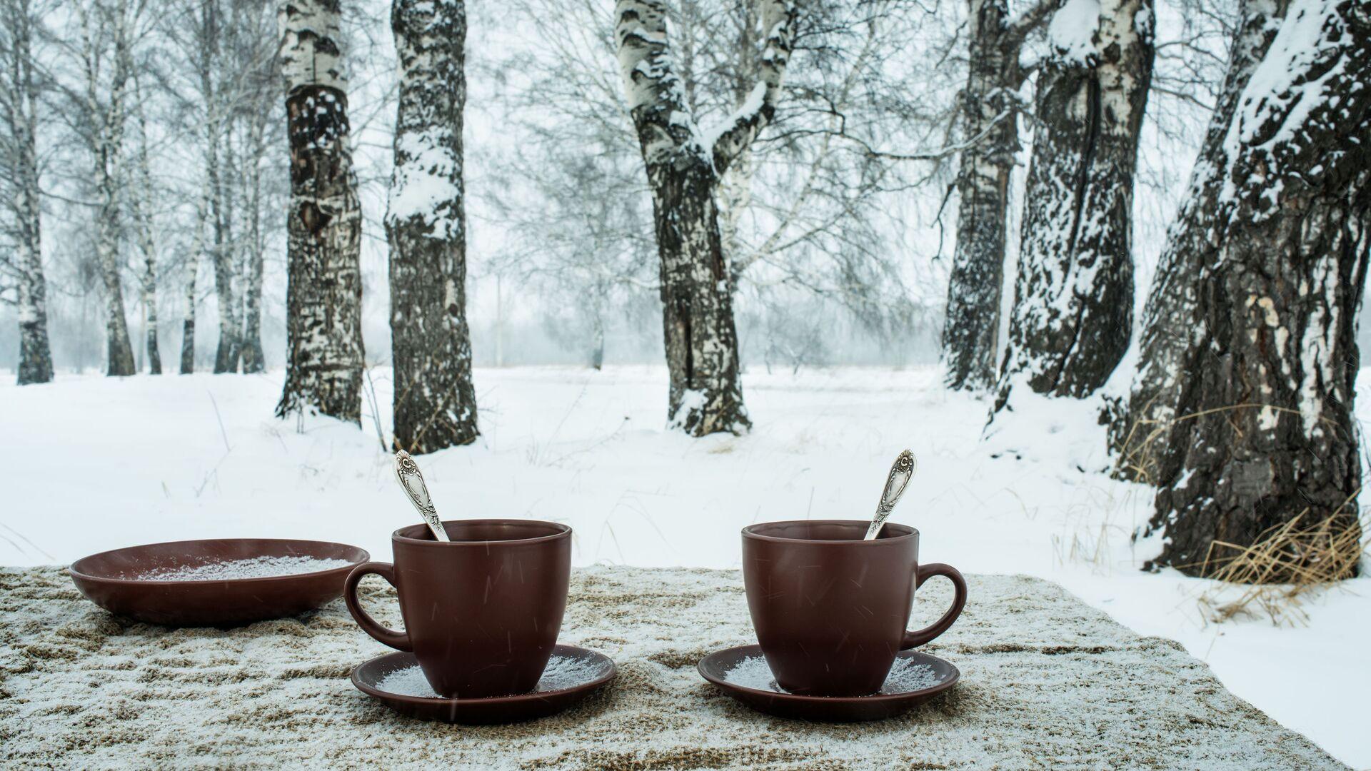 Две чашки на фоне зимнего пейзажа - РИА Новости, 1920, 20.11.2020