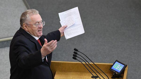 Владимир Жириновский выступает на пленарном заседании Государственной думы РФ. 19 декабря 2018