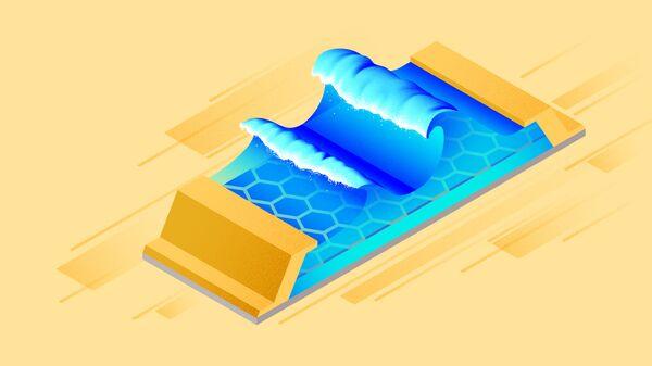 Так художник представил себе плазмонные волны, бегущие по детектору раздевающих лучей