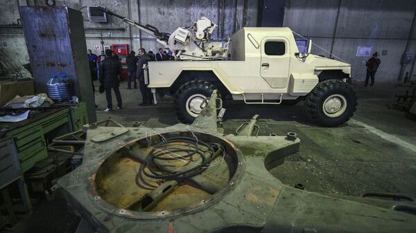 Многоцелевая боевая машина проекта САМУМ в цехе Подольского электромеханического завода