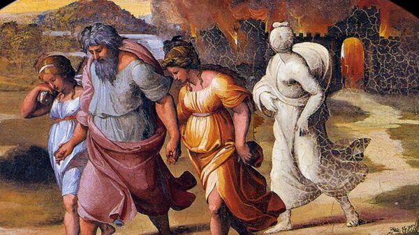 Фреска Бегство Лота из Содома Рафаэля в дворце понтифика в Ватикане