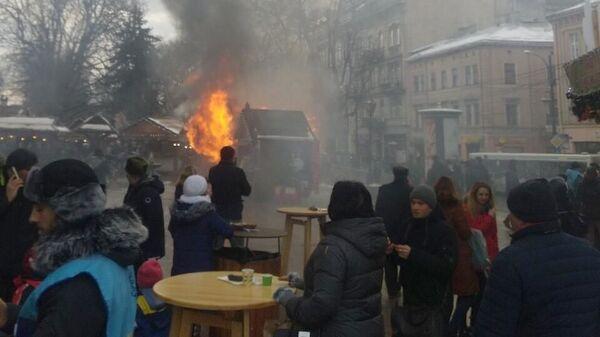 Пожар на рождественской ярмарке в Львове, Украина. 22 декабря 2018