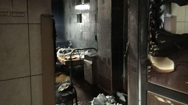 Последствия пожара в Городской больнице Октябрьского района в Новосбирске