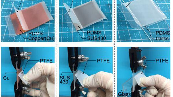 Фрагменты пластиков, «приклеенных» к поверхности стекла и металла без участия клея