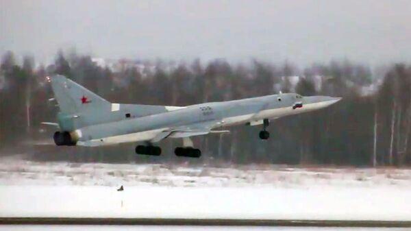 Первый полет глубоко модернизированного ракетоносца-бомбардировщика Ту-22М3М. Стоп-кадр видео