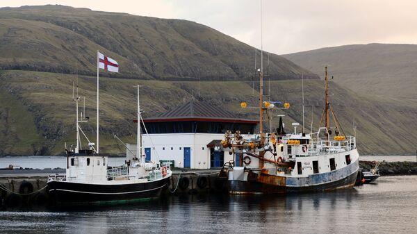 Рыболовецкие лодки в порту города Вестманна на острове Стреймой, Фарерских островов