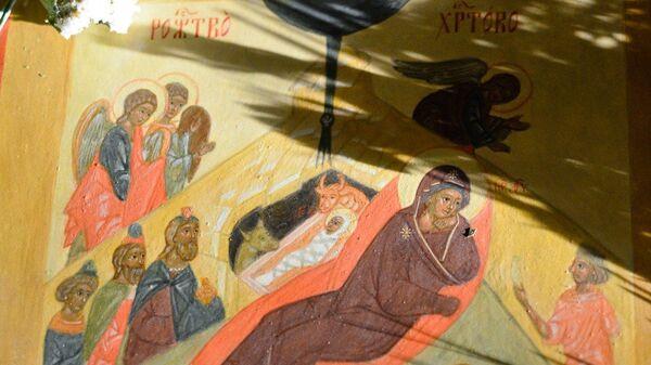 Рождество Христово, икона, фрагмент.