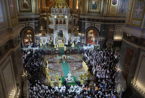 Рождественское богослужение в храме Христа Спасителя в Москве. 6 января 2019