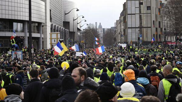 Участники протестной акции желтых жилетов в Париже. 12 января 2019