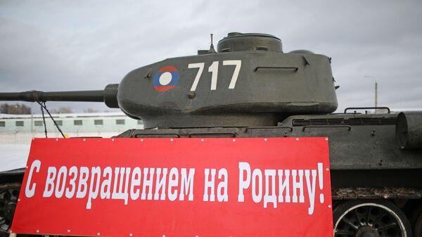 Танк Т-34, прибывший в Наро-Фоминск. 20 января 2019