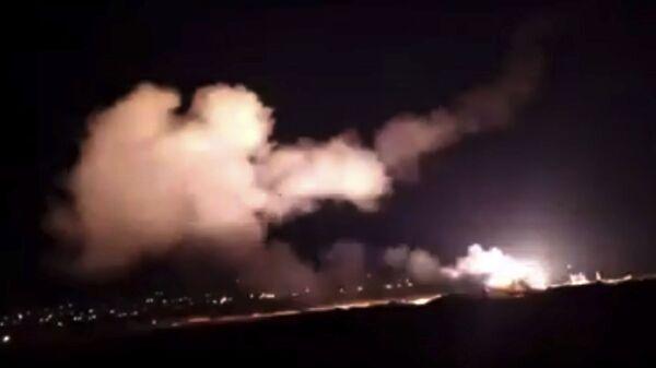 Ракетный обстрел Израильской авиацией района вблизи Дамаска