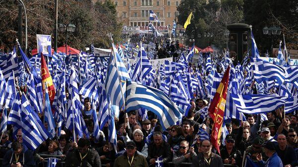 Участники акции в Афинах против Преспанского соглашения о новом конституционном наименовании бывшей югославской республики Македония. 20 января 2019