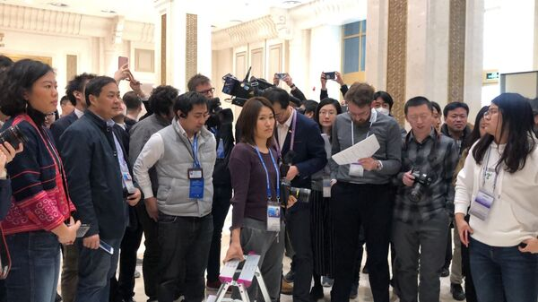 Журналисты ждут доклад по ВВП Китая за 2018 г, Пекин. 21 января 2019