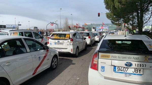 Забастовка таксистов в Мадриде, Испания. 22 января 2019