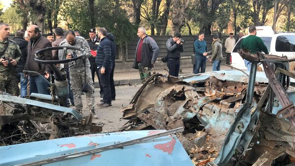 Место взрыва автомобиля в Дамаске. 24 января 2019